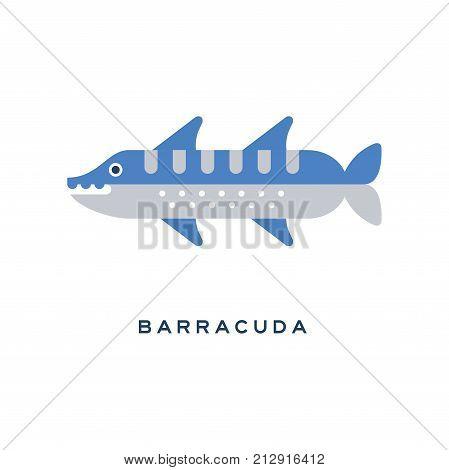 Barracuda, sea carnivorous fish geometric flat style design vector Illustration on a white background