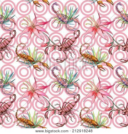 Exotic scorpion wild insect pattern in a watercolor style. Full name of the insect: scorpion. Aquarelle wild insect for background, texture, wrapper pattern or tattoo.