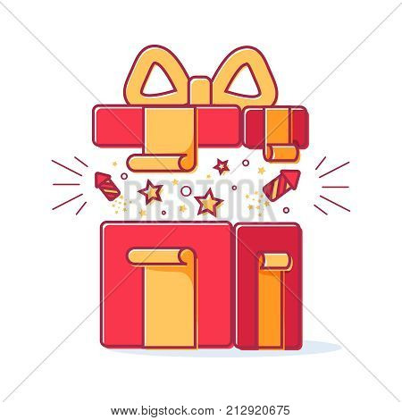 Vector line icons of christmas gift box with a firework. Cute illustration of red gift box, concept for boxing day sale. Open box with yellow bow, ribbon vector element isolated on white background.