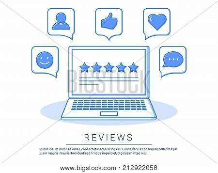 Concept illustration - feedback, reviews and rating testimonials with like, communication..Technology reviews. Vector illustration. Social media success and appreciation concept.