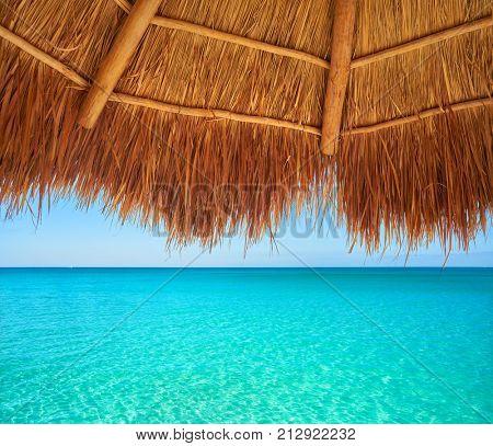 Caribbean beach sunroof in riviera Maya of Mayan Mexico