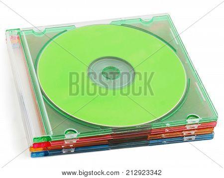 Cds cd-rom dvds dvd-rom dvd case isolated on white cd box