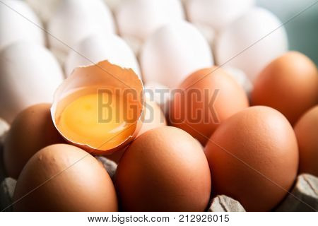 Eggs protein egg tray food close-up broken egg egg carton