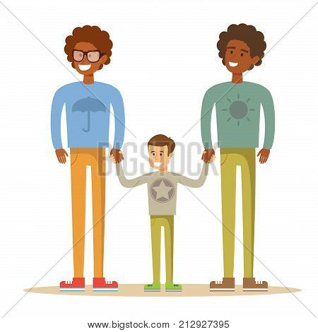Happy gay couple with son. Stock flat vector illustration.