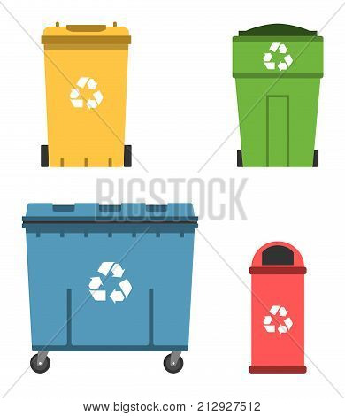 Thrash and recycling can. Garbage container set. Wheeled dumpster. Vector illustration.
