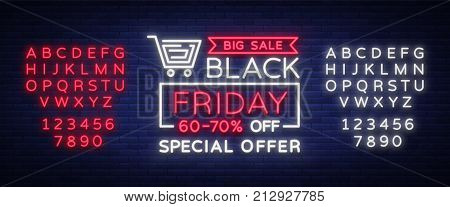 Black Friday vector isolated, poster banner in neon style. Bright sign sales Black Friday discounts. Editing text neon sign. Neon alphabet.