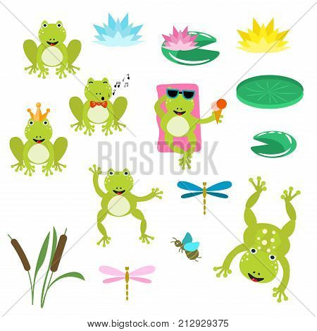 Cute frogs cartoon clipart vector set. Snail, dragonfly and water lily illustration.