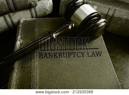 Bankruptcy Law books with a court gavel poster