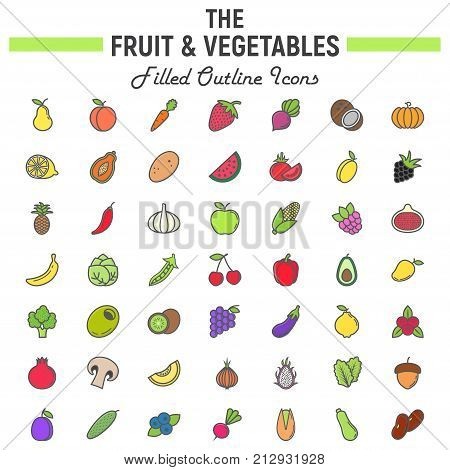 Fruit and Vegetables filled outline icon set, food symbols collection, vegetarian vector sketches, logo illustrations, colorful line pictograms package isolated on white background, eps 10.