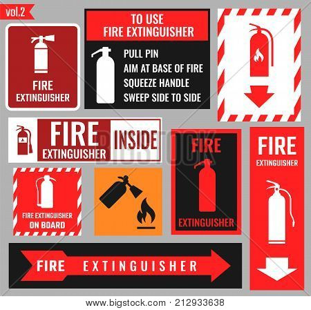 fire extinguisher signs and vector icons set