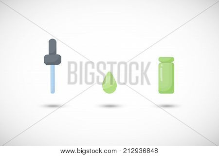 Dropper vector flat icon set Flat design of bottle drop and dropper aromatherapy or medicine object with round shadow vector illustration