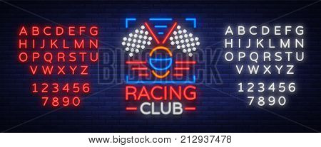 Racing Club neon logo logo. A glowing sign on the theme of the races. Neon sign, light banner. Vector illustration. Editing text neon sign. Neon alphabet.