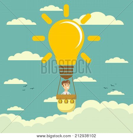 Businessman fly in lightbulb like a hot air balloon. Business competition concept. Stock flat vector illustration.