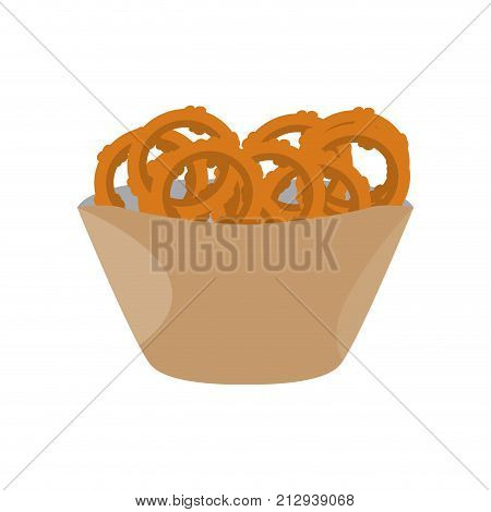 Fried onion rings isolated on white background, Vector illustration