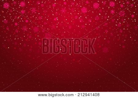 Christmas snow. Falling snowflakes on deep red background. Snowfall. Vector illustration eps 10