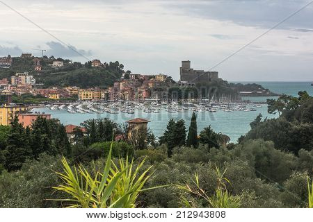 View of the Gulf of the Poets and the castle in Lerici Liguria, Italy