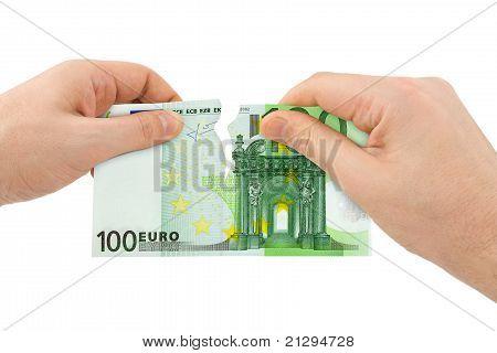 Hands Tear Money