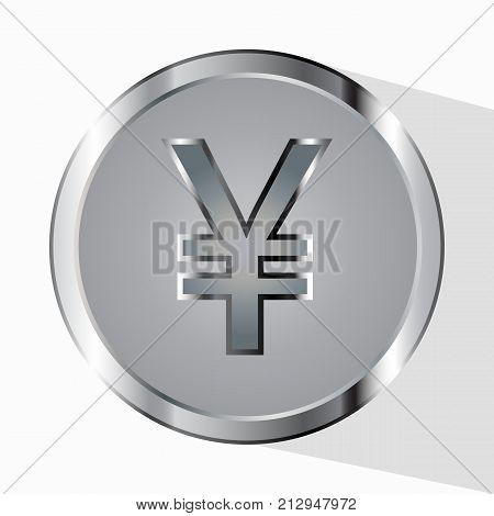 Yen Chinese Coin. Gray Silver. Vector