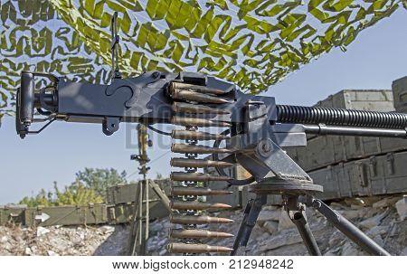 DShK 1938 Soviet heavy machine gun firing the 12.7 108mm cartridge on position