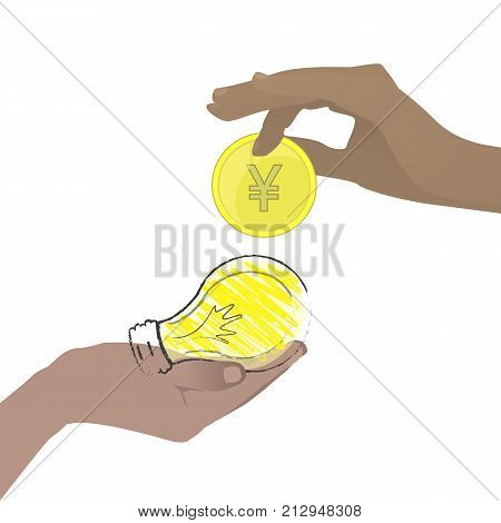 Chinese Coin. Intellectual Property. Vector