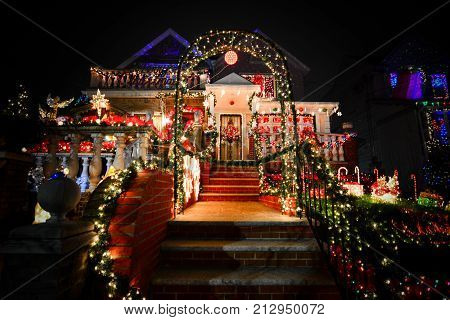 BROOKLYN NY USA - DECEMBER 31 2015 - Christmas decoration of a house in Dykers Height New York City