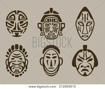 american, asian and african historic tribal mask set. Native face masks vector illustration