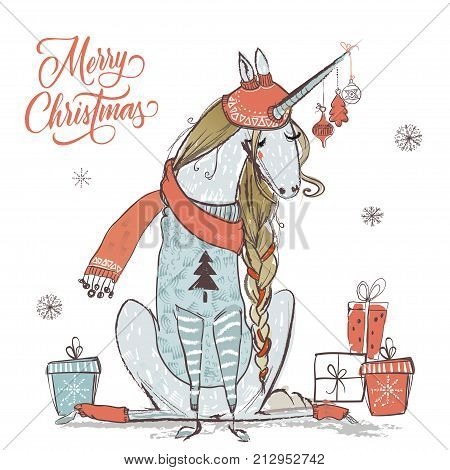 cute vector christmas unicorn with warm clothes