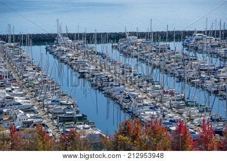 A large marina near Seattle houses boats on the Puget Sound