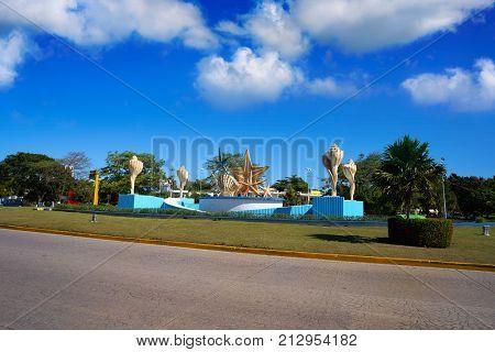Cancun Plaza Ceviche square with fountain in Mexico
