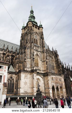PRAGUE CZECH REPUBLIC - NOVEMBER 3 2012: Gothic Cathedral of St. Vitus - Prague's largest cathedral