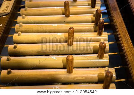 Angklung, traditional wood music instrument played in West Java, Indonesia, by Sundanese people
