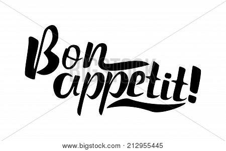 Bon appetit lettering 2 black and white