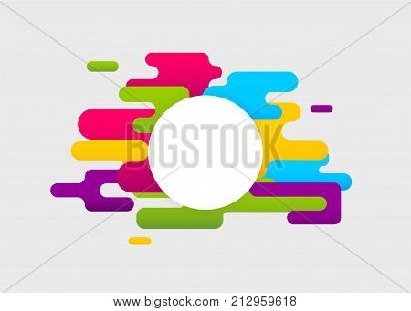 Geometric round corner wow banner. Colored abstract modern background. Colorful poster template cover book material style. Mock up digital circle shape. Vector dynamic simple illustration mockup.