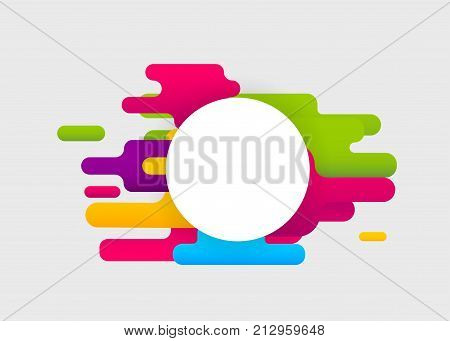 Colored abstract modern background. Mock up digital circle shape. Colorful poster template cover book material style. Geometric round corner wow banner. Vector dynamic simple illustration mockup.