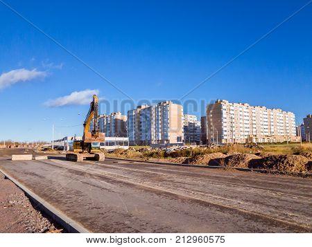 Crawler Excavator With Bucket, Construction Road