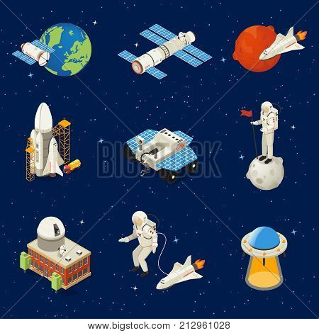 Isometric space elements set with earth planet astronauts satellite spaceships rockets lunar rover planetary ufo isolated vector illustration