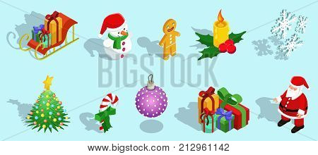 Isometric Christmas icons set with sleigh snowman gingerbread man candle snowflakes fir tree candy ball gifts Santa Claus isolated vector illustration