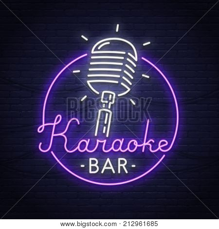 Karaoke neon sign. Neon sign. Karaoke logo, emblem and label. Bright signboard.