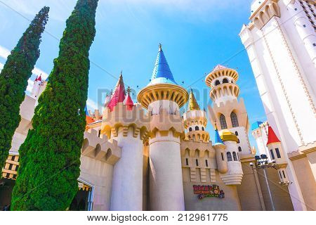 Las Vegas, United States of America - May 04, 2016: Excalibur Hotel and Casino in Las Vegas, Nevada. Its owner - MGM Resorts reported strong net revenue gain of 43 percent to 2.23 billion in third quarter 2011