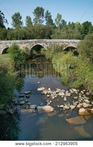 Roman bridge close to Tui, Camino de Santiago trail, Spain
