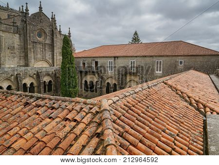 TUI, SPAIN - SEPTEMBER 6, 2017: Cathedral of Tui, Camino de Santiago trail on September 6, 2017 in Spain, Europe