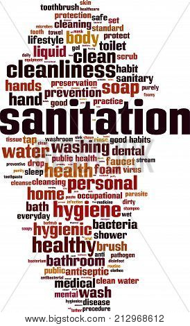Sanitation word cloud concept. Vector illustration on white