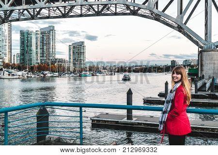 Girl Near False Creek In Vancouver Bc, Canada