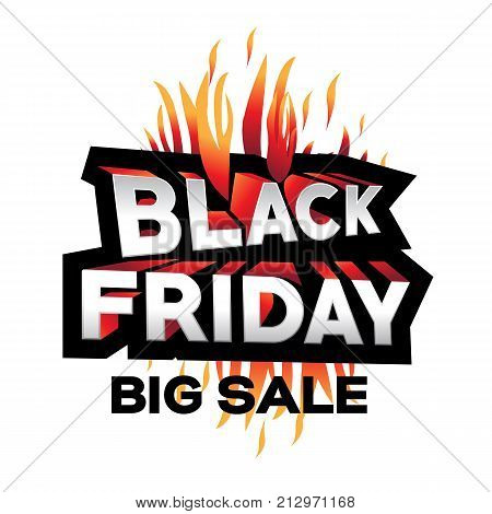 3d black friday illustration, black friday big sale, black friday with flames, bold black friday offer, offers design, isolated on white background.