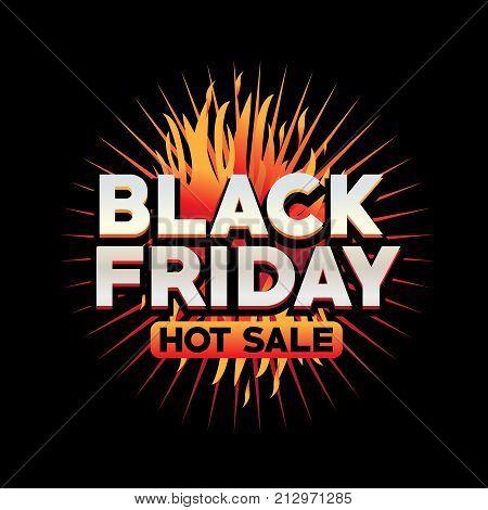 black friday hot sale illustration, black friday hot sale with flames vector, black friday vector, black friday on black background,