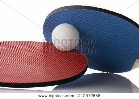 Red And Blue Ping Pong Paddles - Ball In Between