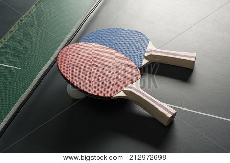 Ping Pong Paddles On Table, Both On Same Side, Harsh Lighting