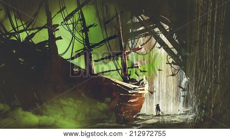 a pirate who has found the abandoned ship with green smoke in waterfall cave, digital art style, illustration painting