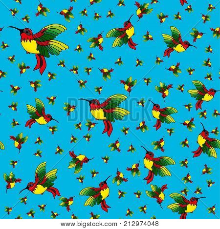 Abstract seamless hummingbird pattern for girls or boys. Creative vector background with hummingbird colibri. Funny wallpaper for textile and fabric. Fashion colibri style. Colorful bright picture