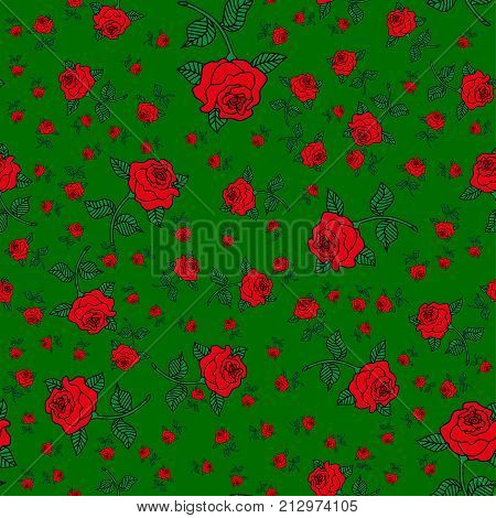 Abstract seamless rose pattern for girls or boys. Creative vector background with rose flower red. Funny wallpaper for textile and fabric. Fashion rose pattern style. Colorful bright picture